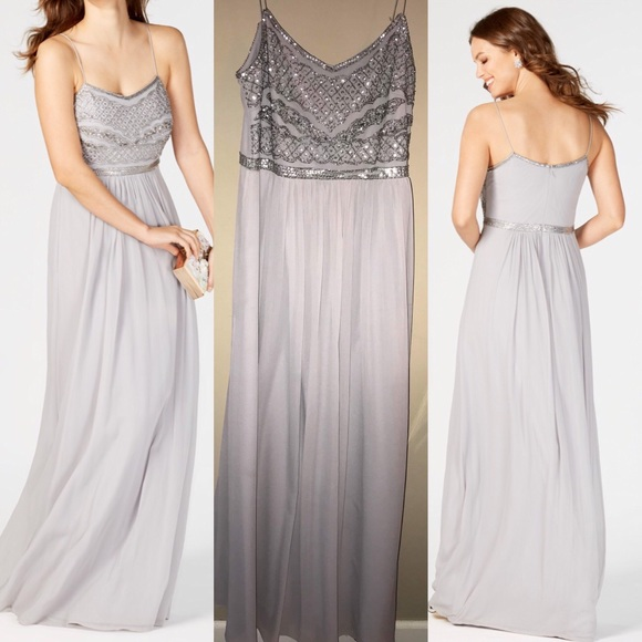 feeecb9872 Adrianna Papell Dresses   Skirts - Adrianna Papell Beaded Chiffon Gown Dress  • Silver